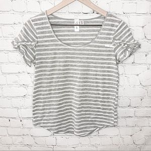 RD Style Ruffle Sleeve Tee Gray/White Striped Size Small NWOT